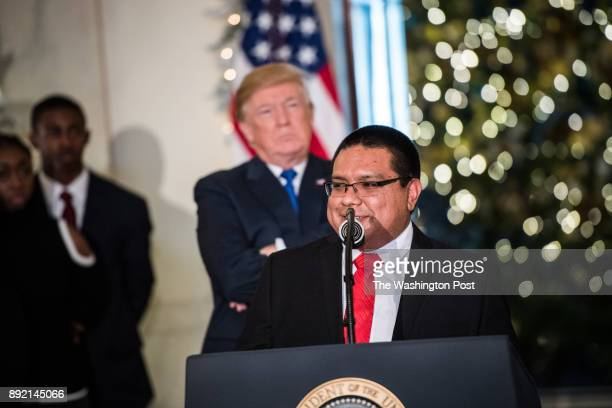 Bryant Glick of New Holland PA speaks on tax reform after being called by President Donald Trump to make a remark at the Grand Foyer of the White...