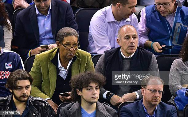 Bryant Gumbel and Matt Lauer attend the Washington Capitals vs New York Rangers playoff game at Madison Square Garden on April 30 2015 in New York...