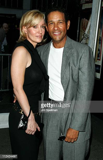 Bryant Gumbel and wife Hilary Quinlan during Fahrenheit 9/11 New York Screening Outside Arrivals at Ziegfeld Theater in New York City New York United...