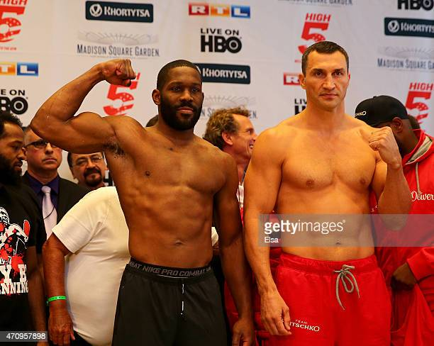 Bryant Jennings and Vladimir Klitschko face off after they both made weight during the weight in on April 24 2015 at Madison Square Garden in New...