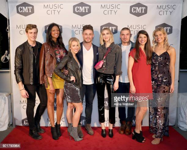 Bryant Lowry Alisa Fuller Jessica Mack Jackson Boyd Whitney Port Kerry Degman Rachyl Degman and Sarah Thomas attend CMT's 'Music City' premiere party...