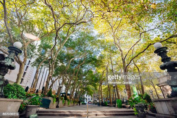 bryant park alley in new york city, usa - bryant park stock pictures, royalty-free photos & images