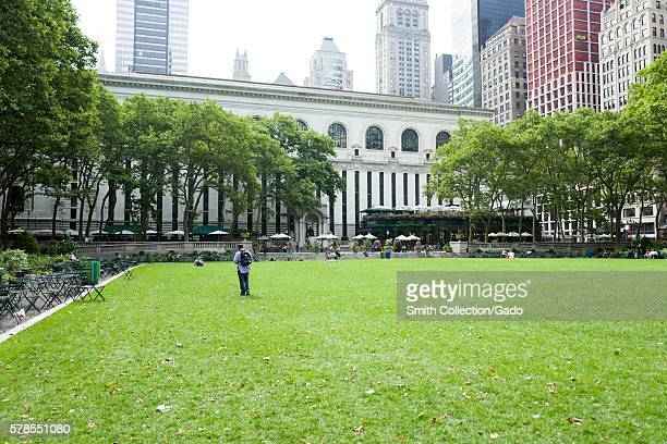 Bryant Park at the rear of the New York Public Library at dawn Manhattan New York City New York July 2016