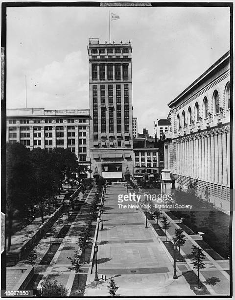 Bryant Park viewed from 40th Street looking north toward Aeolian Hall New York New York 1895 Rear facade of New York Public Library visible