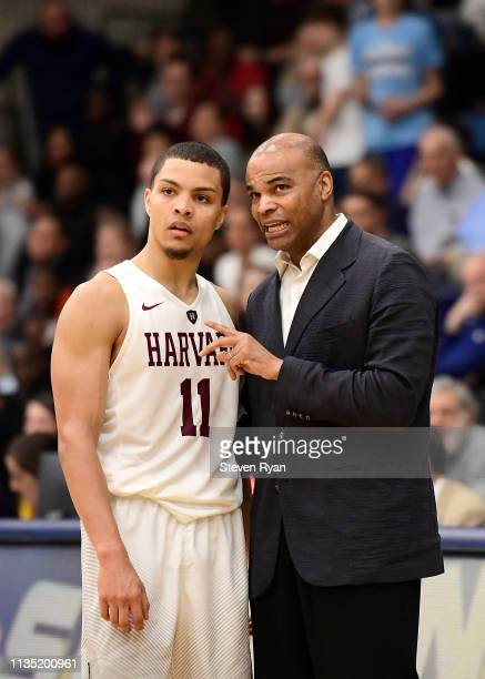 Bryce Aiken speaks with head coach Tommy Amaker of the Harvard Crimson against the Columbia Lions at Frances S. Levien Gymnasium on March 09, 2019 in...