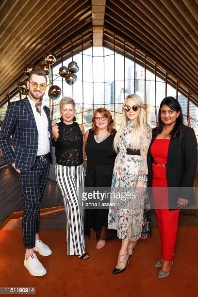 Bryce Alexander Mcintosh and Sarah Starvrow Jude Kingston Melissa Shea and Sneha Andani attend the Fashion Mingle Australia VIP Luncheon at Bennelong...