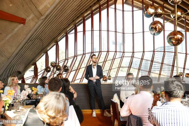 Bryce Alexander Mcintosh speaks during the Fashion Mingle Australia VIP Luncheon at Bennelong Restaurant Sydney Opera House on May 14 2019 in Sydney...