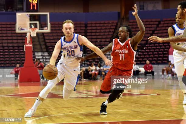 Bryce Alford of the Oklahoma City Blue handles the ball against JayR Strowbridge of the Memphis Hustle at Landers Center in an NBA GLeague game on...