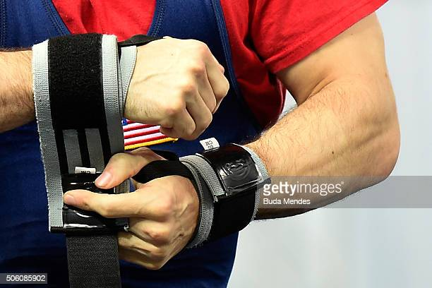 Bryce Anthony of the United States prepares to compete during the Men's 59 kg on the 2016 IPC Powerlifting World Cups Aquece Rio Test Event for the...