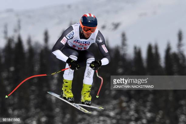 US' Bryce Bennet competes in the Men's Downhill of the FIS World Cup final event in Aare Sweden on March 14 2018 / AFP PHOTO / Jonathan NACKSTRAND
