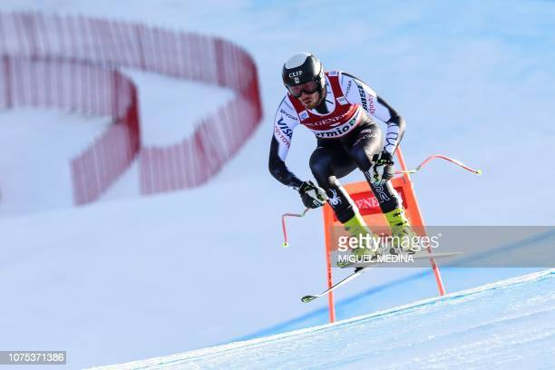 US Bryce Bennett competes during the FIS Alpine Ski World Cup Men's Downhill competition on December 28 2018 in Bormio in the Italian Alps / The...