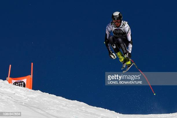 Bryce Bennett competes in the Men's Downhill of the Lauberhorn during the FIS Alpine Ski World Cup, on January 19 in Wengen.