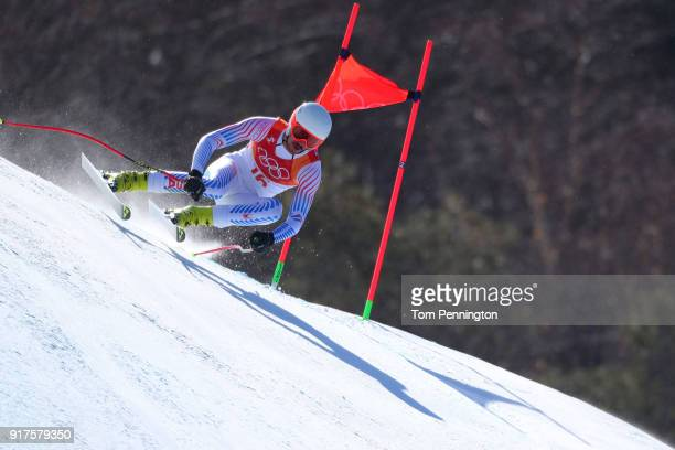 Bryce Bennett of the United States competes during the Men's Alpine Combined Downhill on day four of the PyeongChang 2018 Winter Olympic Games at...