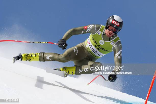 Bryce Bennett of USA competes during the Audi FIS Alpine Ski World Cup Men's and Women's Downhill on March 13 2019 in Soldeu Andorra