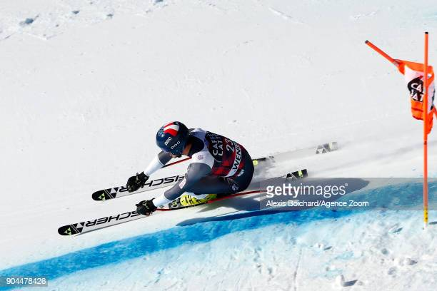 Bryce Bennett of USA competes during the Audi FIS Alpine Ski World Cup Men's Downhill on January 13 2018 in Wengen Switzerland