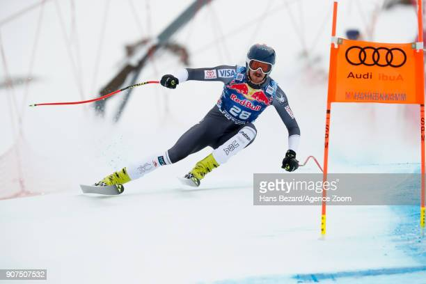 Bryce Bennett of USA competes during the Audi FIS Alpine Ski World Cup Men's Downhill on January 20 2018 in Kitzbuehel Austria