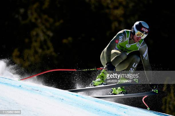 US Bryce Bennett takes part in the training run for the men's downhill race of the FIS Alpine Ski World Cup Finals at SoldeuEl Tarter in Andorra on...