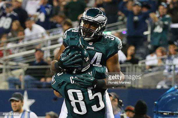 Bryce Brown celebrates his touchdown with James Casey of the Philadelphia Eagles in the fourth quarter against the Dallas Cowboys at Cowboys Stadium...