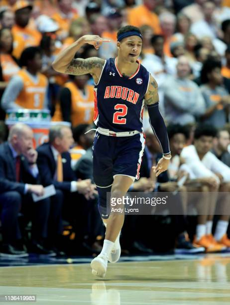Bryce Brown of the Auburn Tigers celebrates after making a three point shot against the Tennessee Volunteers during the final of the SEC Basketball...