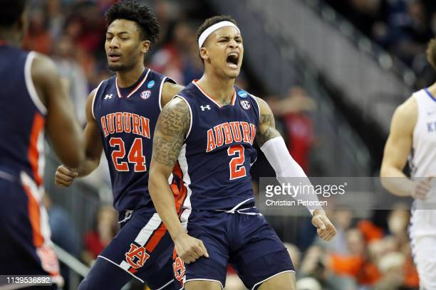 Bryce Brown of the Auburn Tigers celebrates against the Kentucky Wildcats during the 2019 NCAA Basketball Tournament Midwest Regional at Sprint...