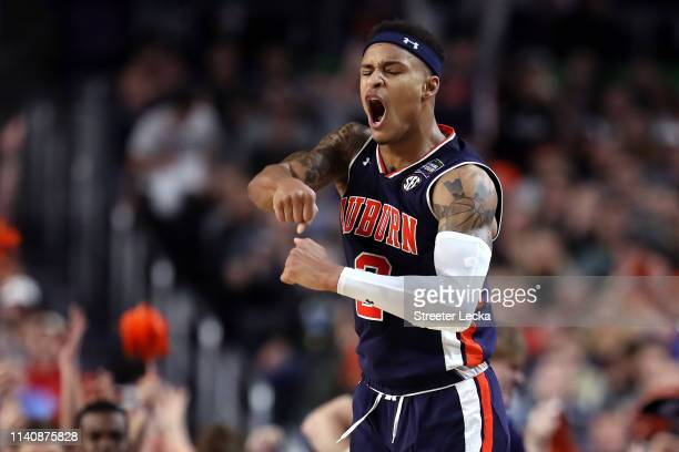 Bryce Brown of the Auburn Tigers celebrates in the second half against the Virginia Cavaliers during the 2019 NCAA Final Four semifinal at US Bank...