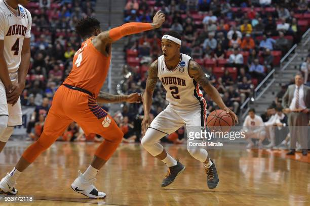 Bryce Brown of the Auburn Tigers drives against Shelton Mitchell of the Clemson Tigers in the first half during the second round of the 2018 NCAA...