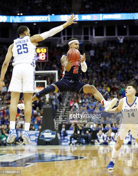 Bryce Brown of the Auburn Tigers handles the ball against the Kentucky Wildcats during the 2019 NCAA Basketball Tournament Midwest Regional at Sprint...