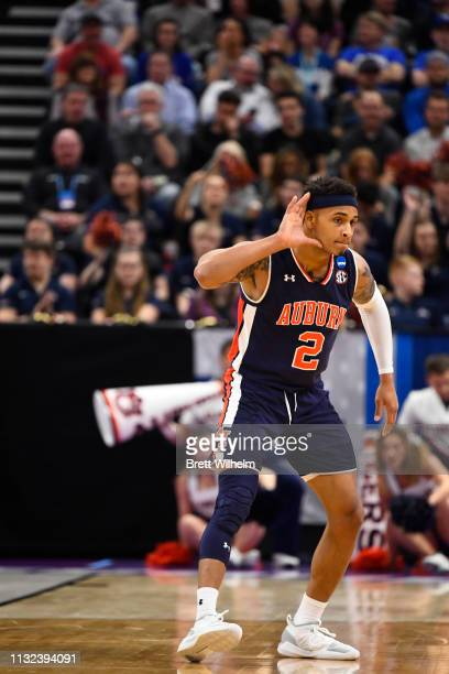Bryce Brown of the Auburn Tigers pumping up the crowd in the game against the Kansas Jayhawks in the second round of the 2019 NCAA Photos via Getty...