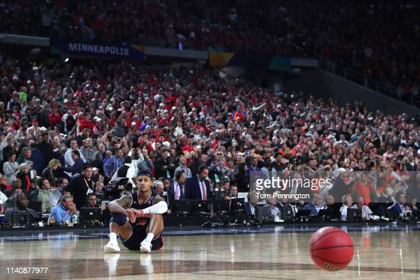 Bryce Brown of the Auburn Tigers reacts after being defeated by the Virginia Cavaliers 6362 during the 2019 NCAA Final Four semifinal at US Bank...