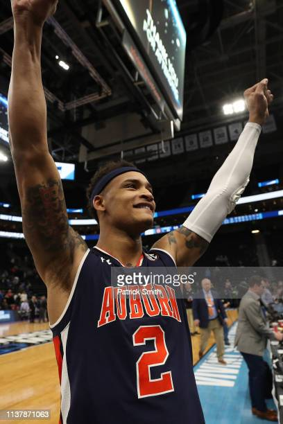 Bryce Brown of the Auburn Tigers reacts after defeating the Kansas Jayhawks 8975 in the Second Round of the NCAA Basketball Tournament at Vivint...