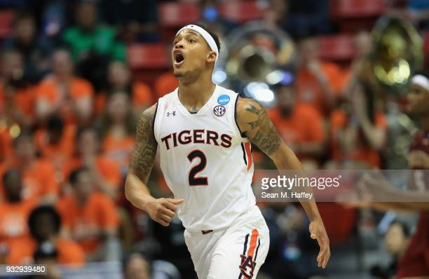 Bryce Brown of the Auburn Tigers reacts against the Charleston Cougars in the second half in the first round of the 2018 NCAA Men's Basketball...