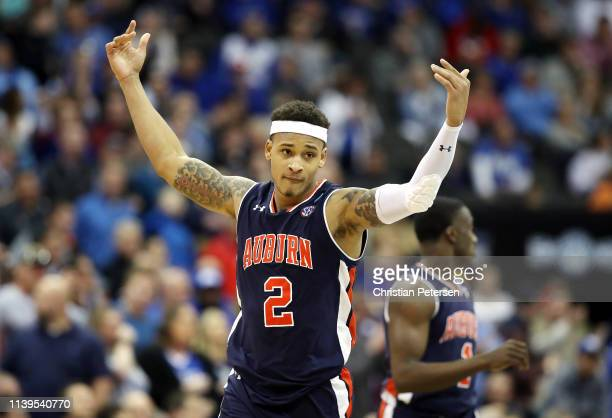 Bryce Brown of the Auburn Tigers reacts against the Kentucky Wildcats during the 2019 NCAA Basketball Tournament Midwest Regional at Sprint Center on...