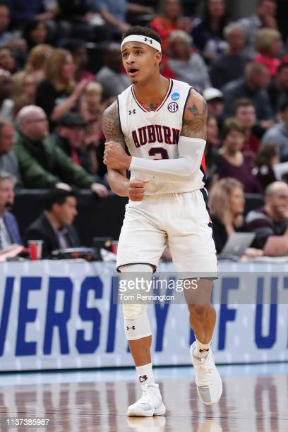 Bryce Brown of the Auburn Tigers reacts during the first half against the New Mexico State Aggies in the first round of the 2019 NCAA Men's...