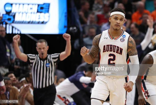 Bryce Brown of the Auburn Tigers reacts during the second half against the New Mexico State Aggies in the first round of the 2019 NCAA Men's...