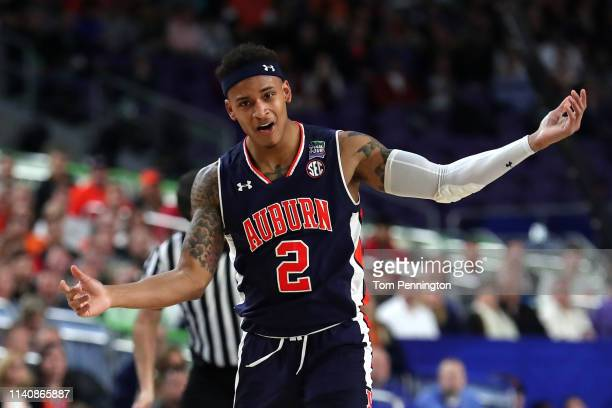 Bryce Brown of the Auburn Tigers reacts in the first half against the Virginia Cavaliers during the 2019 NCAA Final Four semifinal at US Bank Stadium...