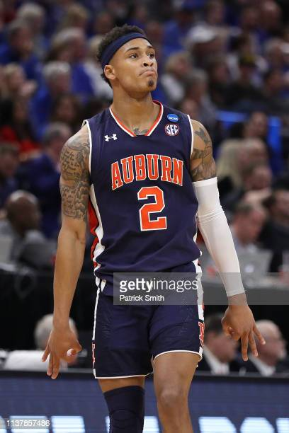 Bryce Brown of the Auburn Tigers reacts to a play against the Kansas Jayhawks during their game in the Second Round of the NCAA Basketball Tournament...