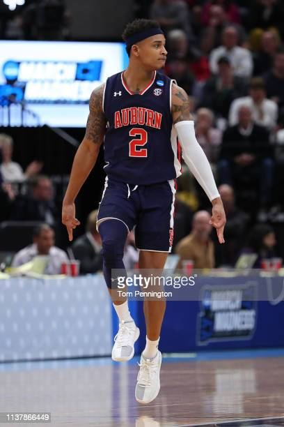 Bryce Brown of the Auburn Tigers reacts to a play during their game against the Kansas Jayhawks in the Second Round of the NCAA Basketball Tournament...