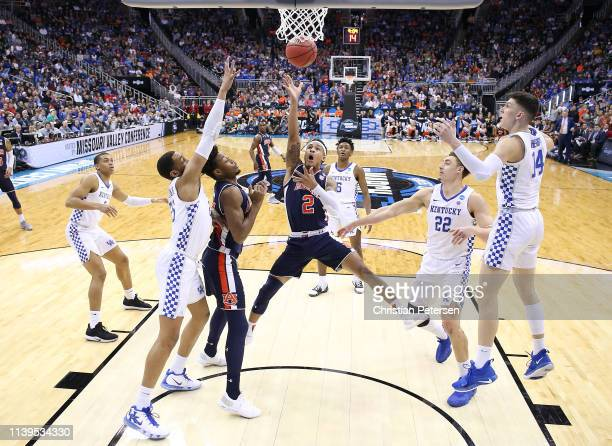 Bryce Brown of the Auburn Tigers shoots the ball against the Kentucky Wildcats during the 2019 NCAA Basketball Tournament Midwest Regional at Sprint...