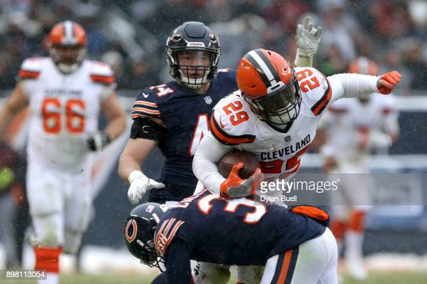 Bryce Callahan of the Chicago Bears hits Duke Johnson of the Cleveland Browns in the third quarter at Soldier Field on December 24 2017 in Chicago...