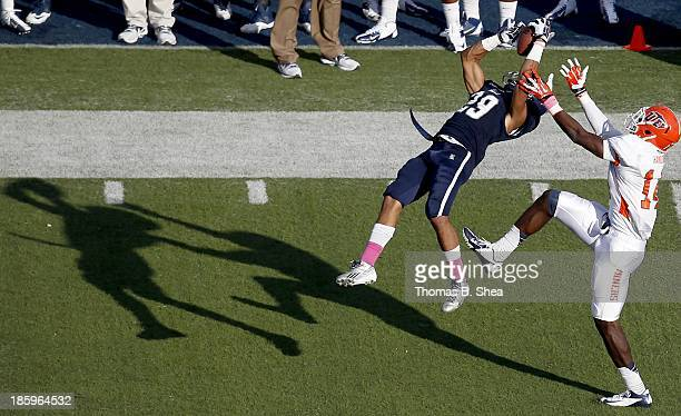 Bryce Callahan of the Rice Owls intercepts the ball from Ian Hamilton of the UTEP Miners on October 26 2013 at Rice Stadium in Houston Texas Rice won...