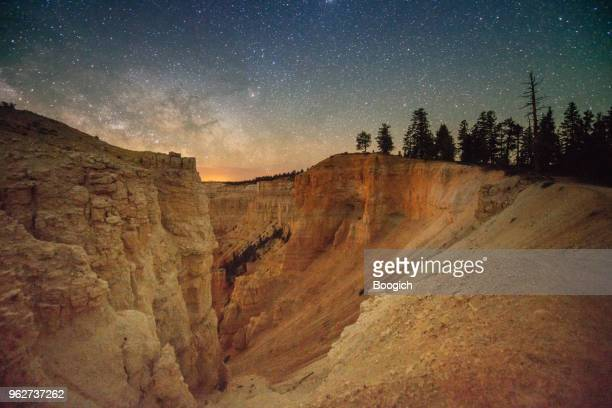 bryce canyon landscape at night with milky way sky - bryce canyon stock pictures, royalty-free photos & images