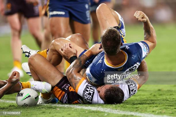 Bryce Cartwright of the Eels celebrates scoring a try during the round seven NRL match between the Parramatta Eels and the Brisbane Broncos at TIO...