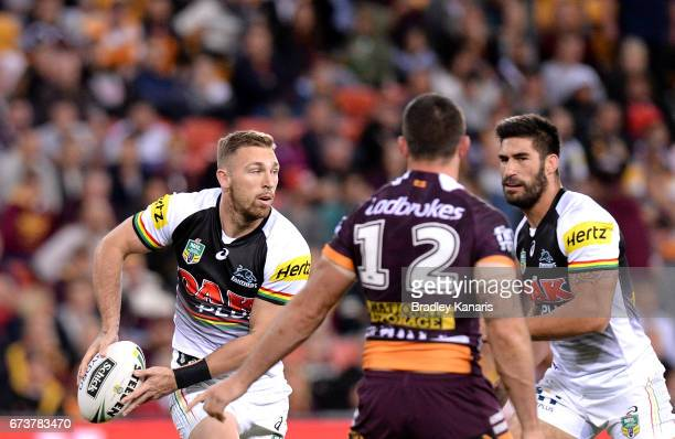 Bryce Cartwright of the Panthers looks to pass during the round nine NRL match between the Brisbane Broncos and the Penrith Panthers at Suncorp...