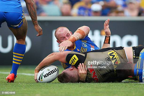 Bryce Cartwright of the Panthers scores a try during the round five NRL match between the Parramatta Eels and the Penrith Panthers at Pirtek Stadium...