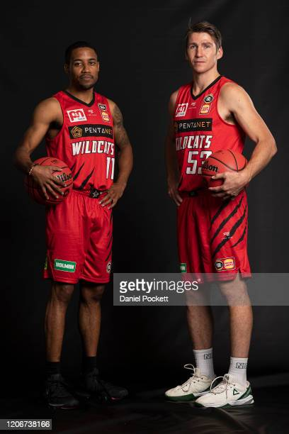 Bryce Cotton and Damian Martin of the Wildcats pose during the 2020 NBL Finals Launch at Crown Palladium on February 17, 2020 in Melbourne, Australia.