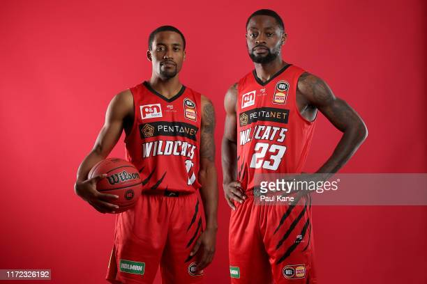 Bryce Cotton and Terrico White pose during a Perth Wildcats NBL portrait session on August 30, 2019 in Perth, Australia.