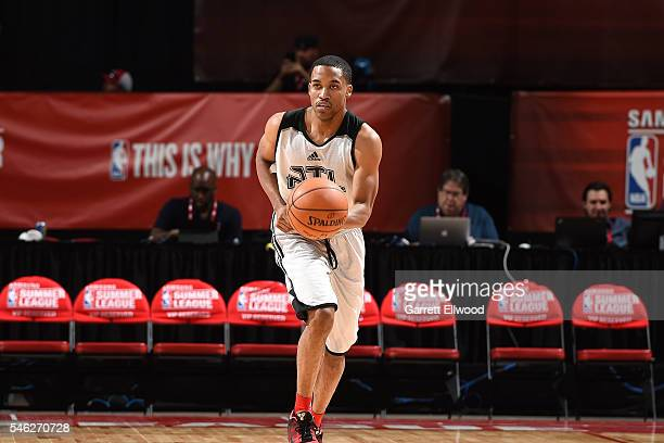 Bryce Cotton of Atlanta Hawks handles the ball during the game against the Brooklyn Nets during the 2016 Las Vegas Summer League on July 11 2016...