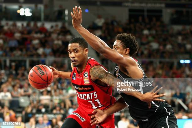 Bryce Cotton of Perth drives to the basket during the round seven NBL match between Melbourne and Perth on November 19 2017 in Melbourne Australia