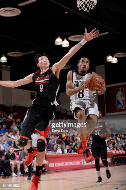 Bryce Cotton of the Atlanta Hawks goes for a lay up against Zhou Qi of the Houston Rockets during the 2017 Summer League on July 14 2017 at Cox...