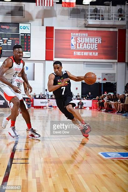 Bryce Cotton of the Atlanta Hawks handles the ball against the Houston Rockets during the 2016 NBA Las Vegas Summer League game on July 8 2016 at the...